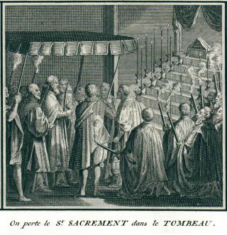 Procession du Très-Saint Sacrement au tombeau, après la messe du Jeudi Saint - gravure de Picard
