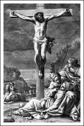 Crucifixion tire d&#039;un canon pontifical du XVIIme sicle