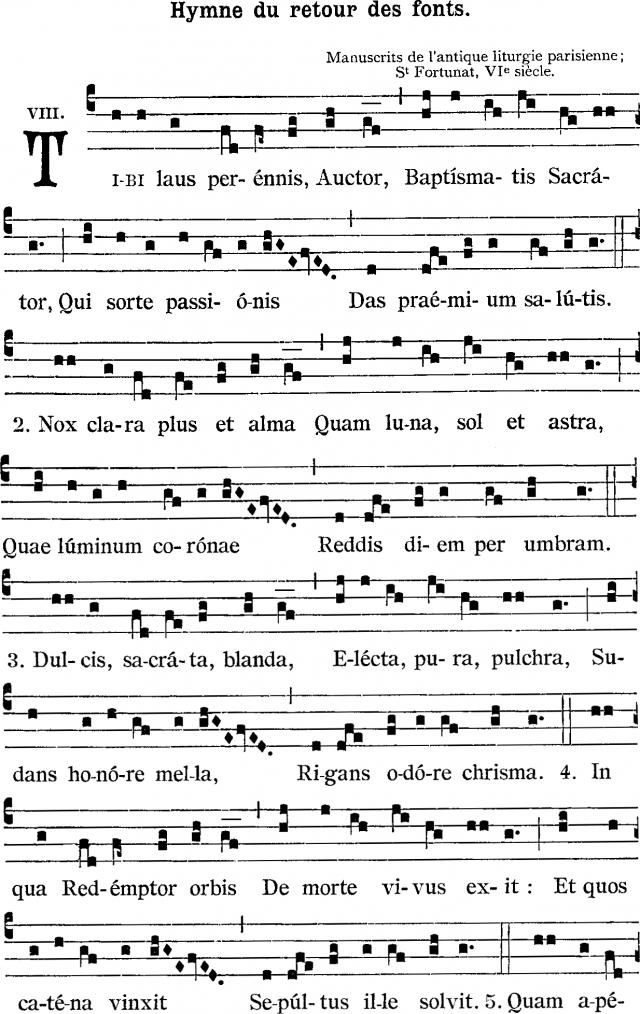 Tibi laus perennis - hymne de saint Venance Fortunat pour le baptême - recto