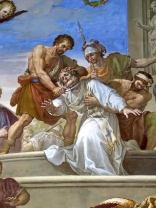 Le martyre de saint Eugène - fresque de Francisco Bayeu y Subías (1734 † 1795) - cloître de la cathédrale de Tolède