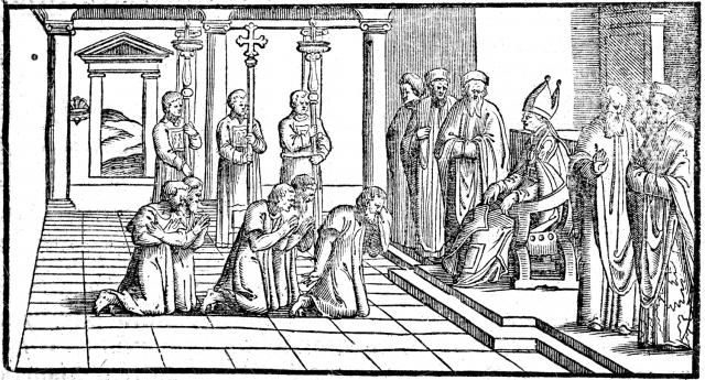 02 - Les pénitents publics se présentent devant l'évêque - Pontifical de 1561
