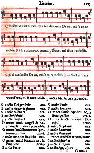 Litanies des saints - Missel romain de saint Pie V - édition de Venise de 1596