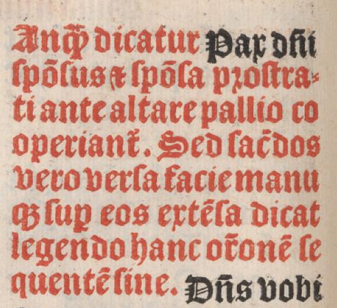 Ruprique précisant l'usage du pallium à la bénédiction nuptiale - Manuale sacerdotum parisiensis de 1497