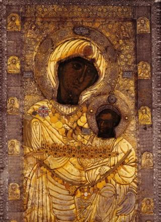 Icône originale de Notre Dame des Ibères, conservée à l'entrée du monastère d'Iviron au Mont-Athos