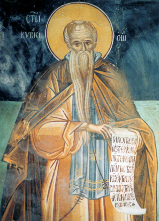 saint Cyriaque l'anachorèrte - fresque du monastère saint Paul du Mont-Athos datée de 1552