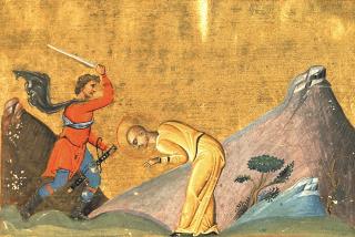 Sainte Tatienne de Rome rasée avant d'être décapitée - miniature du ménologue de Basile II (circa 1000)