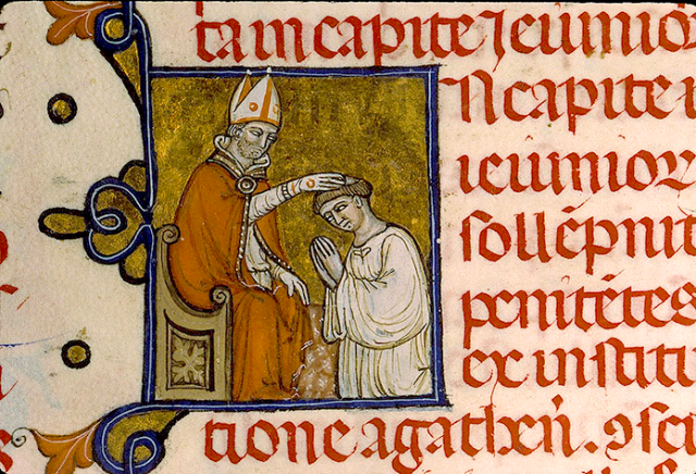 Imposition des Cendres - Pontifical de Guillaume Durand - Avignon circa 1357