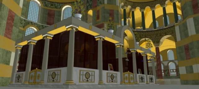 Reconstitution du sanctuaire de Sainte-Sophie à Constantinople - vue latérale du sanctuaire.