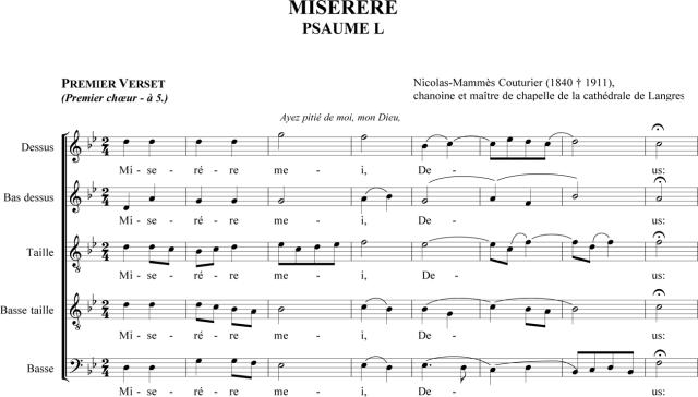 Nicolas-Mammès Couturier - Miserere à 3 chœurs