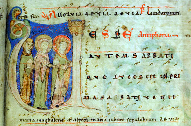 Premières vêpres des Pâques dans l'antiphonaire de Kosterneubourg 1013 datant du XIIème siècle - Antiennes Alleluia pour le psaume 116 et Vespere autem Sabbati pour le Magnificat.