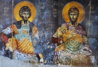 Les deux saints Théodore - le Stratilate & le Tiron - fresque du Mont Athos