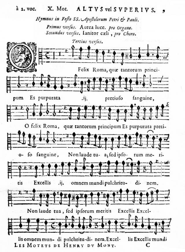 La partie de l'Altus vel Superius dans la réédition de 1662............