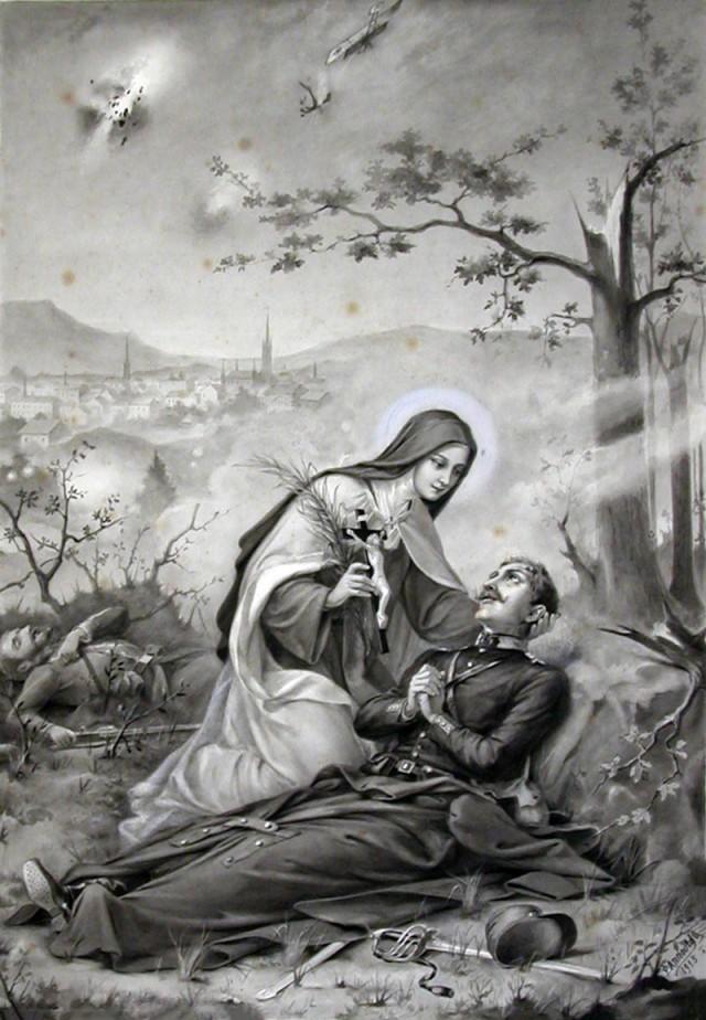 Sainte Thérèse secoure les soldats durant la Grande Guerre - Fusain de Pierre Léon Adolphe Annould de 1915.