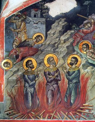 Martyre sous Shapour II de Perse des saints Akindynos, Pégasios, Aphthonios, Elpidiphore, Anempodiste et leurs 7000 compagnons - fresque du monastère de Dyonisiou, Mont Athos, 1547.