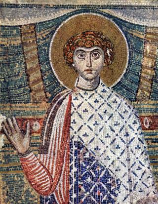 Saint Démétrios le Myroblyte - mosaïque byzantine du VIIème siècle dans sa basilique de Thessalonique